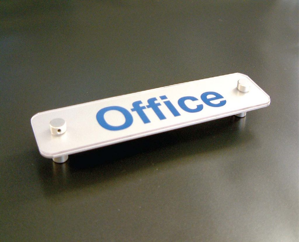 Metal standoff signs for office