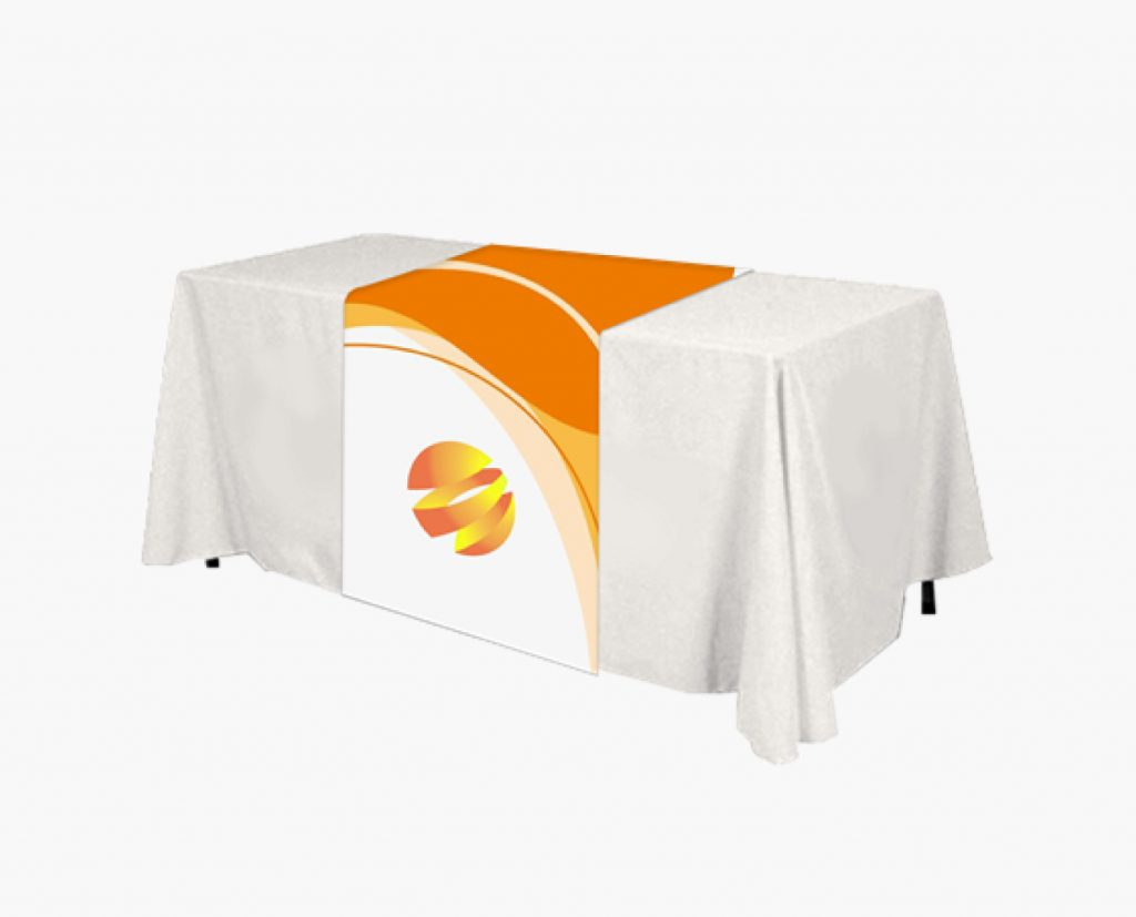 logo printed table throw