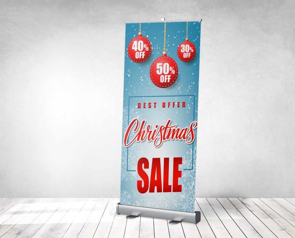 seasonal promotion banner stand