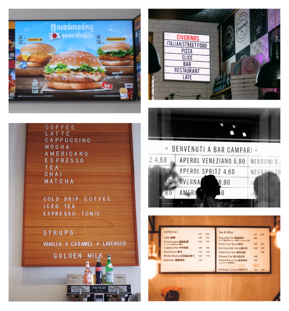 Options for Magnetic Menu Boards